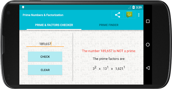 Prime Numbers & Factorization - screenshot