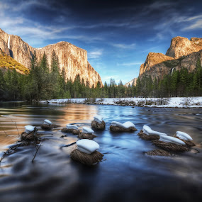 Yosemite Valley by William Lee - Landscapes Mountains & Hills ( national park, mountain, yosemite, sunset, snow, trees, river )