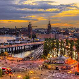 Stockholm at Sunset by Dmitriy Andreyev - City,  Street & Park  Street Scenes ( sweden, stockholm, sunset )