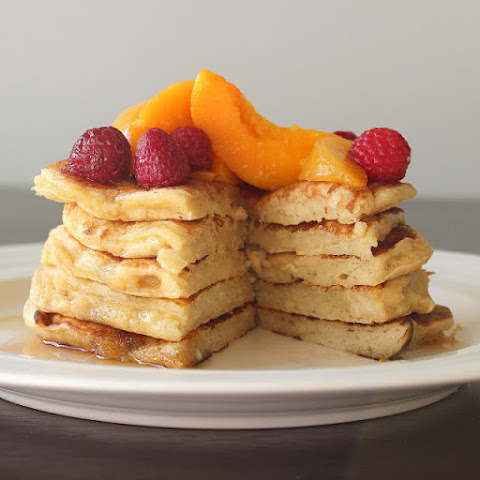 Peach Raspberry Pancakes