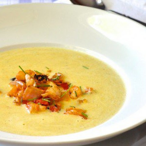 Summer Corn Soup with Grilled Shrimp Sriracha Salsa