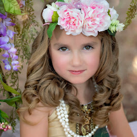 Chloe by Carole Brown - Babies & Children Child Portraits ( brown eyes, little girl, floral headband, brown curls, pearls, gold dress )