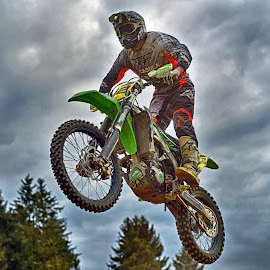 The Air Is Good Here ! by Marco Bertamé - Sports & Fitness Motorsports ( clouds, flying, red, motocross, speed, green, air, yellow, high, race, noise, jump )