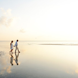 Reflections  by Andrew Morgan - Wedding Bride & Groom ( love, reflection, zanzibar, sunset, wedding, sea )