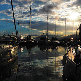 Harbour by Sonja Pankova - Landscapes Sunsets & Sunrises ( harbour.sunset.life.sail.sailboats.sailing.sky.clouds,  )