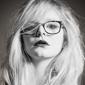 by Kate Anthony - People Portraits of Women ( messy hair, glasses, fashion photography, black and white fashion photography, open lips )