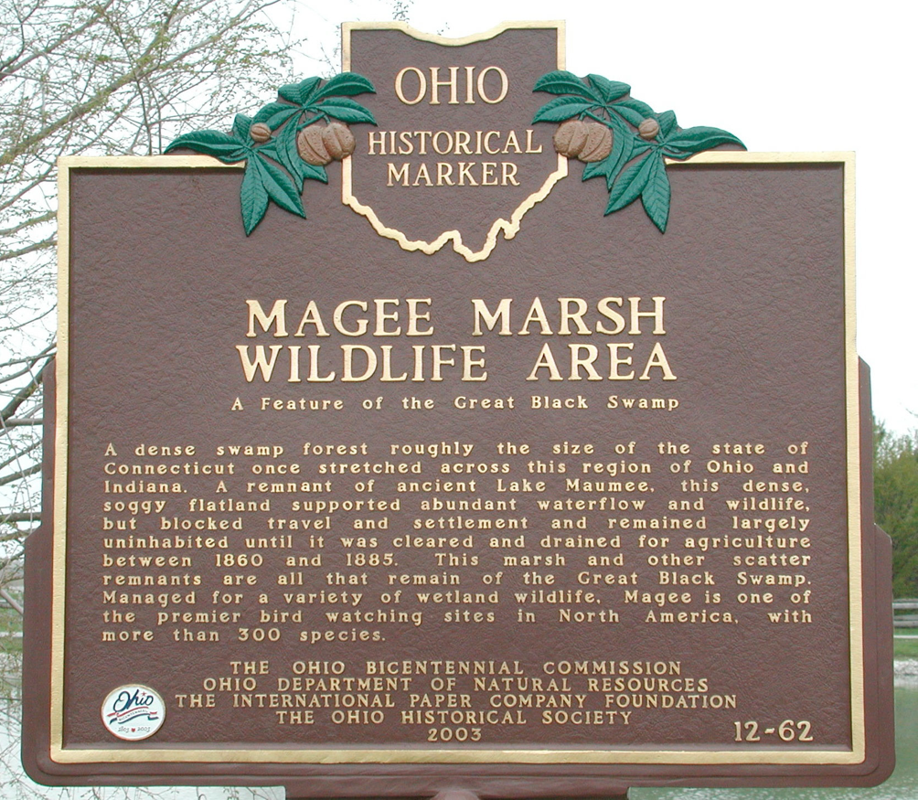 Ohio Historical MarkerMagee Marsh Wildlife AreaA feature of the Great Black SwampA dense swamp forest roughly the size of the state of Connecticut once stretched across this region of Ohio and ...