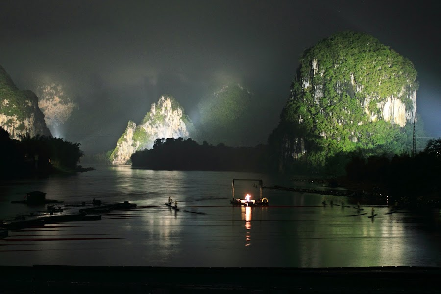 Yangshuo by Bryan Rasmussen - Landscapes Travel ( water, lights, mountains, yangshuo, dark, show, night, china, river )