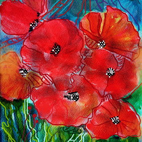 Poppies of the World by Jasna Dragun - Drawing All Drawing ( watercolor, nature, digital art, poppies, flowers, painting )