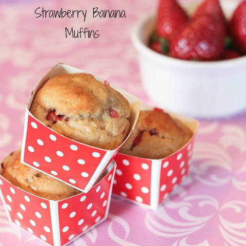 Strawberry Banana Muffins made with Greek Yogurt