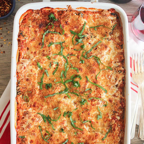 Lasagna Quinoa Bake with Chicken, Spinach and Mushrooms