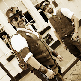 steampunk by Kathleen Devai - People Street & Candids ( costumes, sepia, street, lincolnasylum, steampunk )