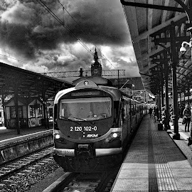 Gdansk Glowny by Rune Nilssen - Transportation Trains ( k3, polen, gdansk, b&w, black and white, bw, pentax, rune, tain )