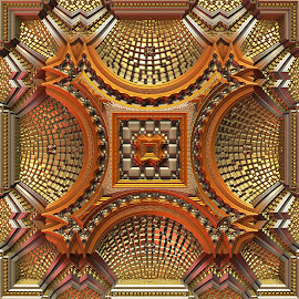 Fancy by Lyle Hatch - Illustration Abstract & Patterns ( 3-d fractl, fancy, detailed, mandelbulb 3d, 3-d, metallic, gold, fractal, golden, intricate )