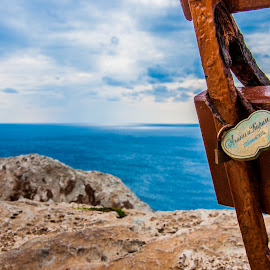 Love Vow by Daniela Casuneanu - Landscapes Travel ( vows, hearts, heart, bench, valentines, cliff, lock, sea, stone, iron, panorama, love, forever, blue )