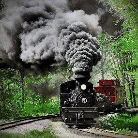 Puffing  by Chuck  Gordon  - Transportation Trains ( cass, steam train, shay, smoke )