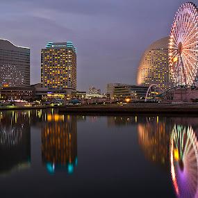Yokohama by Ketut Pujantara - City,  Street & Park  Amusement Parks ( water, digital clock, vivre shopping mall, kanransha, yokohama, minato mirai, ferris wheel )