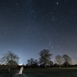 Interstellar Wedding... by Nigel Hepplewhite - Wedding Bride & Groom ( love, milkyway, stars, wedding, dress, suit, rings, landscape, bride, groom, nightscape )