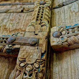 Door Latch by Barbara Brock - Artistic Objects Other Objects ( old wood door, wood door, ornate door, carved wood door )