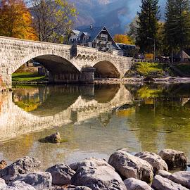 The bridge by Branko Balaško - Buildings & Architecture Bridges & Suspended Structures ( julijske alpe, slovenija, pentax, bohinjsko jezero, lake, landscape, branko balasko, vogel, panorama, bohinj )