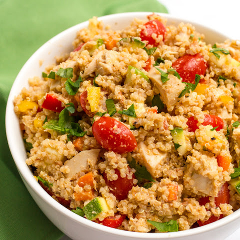 Chicken Quinoa Salad With Salsa Hummus
