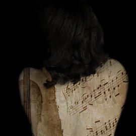 Her spine hides the most beautiful songs... by Annika Torstensson - Digital Art People ( spine, aminaphoto, digital art, sheet music, annika torstensson, andrea palmqvist gillman )