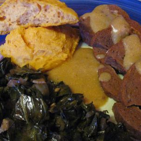 Seitan Roast with Collards and Sweet Potato Biscuits