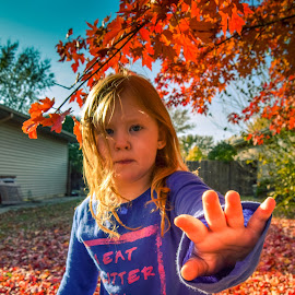 No more!! Back off! by Kayla House - Babies & Children Child Portraits ( fall leaves, girl, fall, trees, leaves, outside, portrait, red head )
