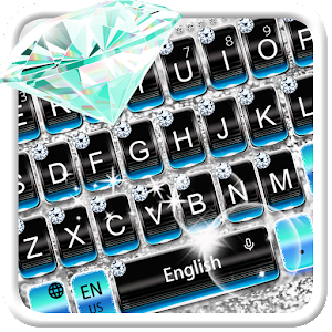 Blue Silver Diamond  Keyboard Theme