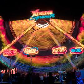 Amusement Park Lights by Urda Petre - Abstract Light Painting ( longexposure, gh5, amusement park )