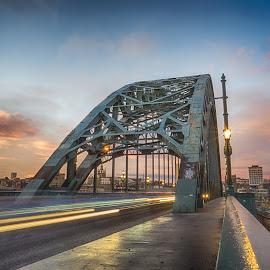 Tyne Bridge Sunset by Adam Lang - Buildings & Architecture Bridges & Suspended Structures ( trailing light, sky, sunset, newcastle, tyne bridge )
