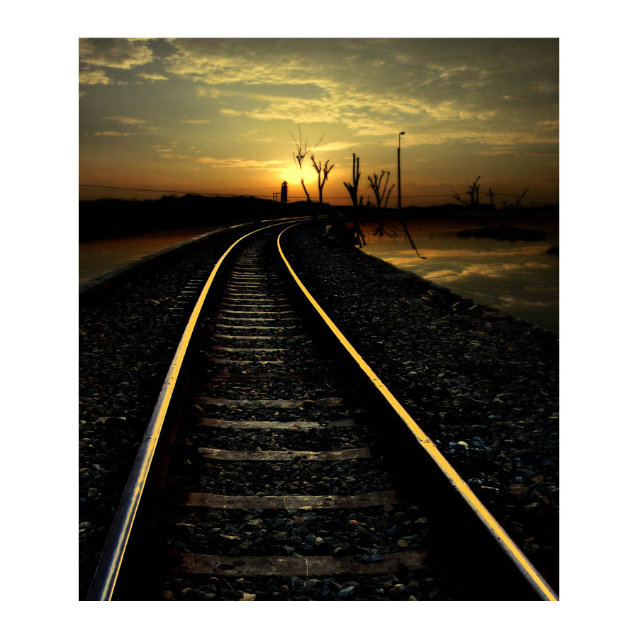 sunset railroad by Akhyar Fikri - Transportation Trains