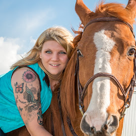 Tatted Girl & Her Horse by Kathy Suttles - People Body Art/Tattoos