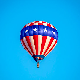 Stars and stripes hot air balloon by Debbie Quick - Transportation Other ( flight, basket, balloon, debbie quick, adirondacks, debs creative images, new york, transportation, hot air balloon, stars and stripes, balloon festival, queensbury, flying, warren county, flame )
