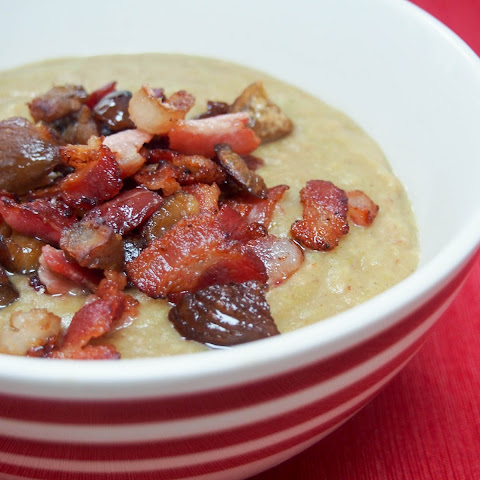 Bacon and Brussel sprout soup with crispy bacon and chestnut