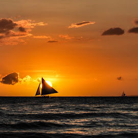 On Fire by Ynon Francisco - Transportation Boats ( sky, sunset, boracay, sea, sail, boat, philippines )