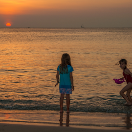sunset at the beach by Vibeke Friis - City,  Street & Park  Street Scenes ( sunset, charlotte,  )