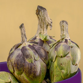 Baby Artichokes  by Jim Downey - Food & Drink Fruits & Vegetables ( purple, artichokes, green, leaves, steams )