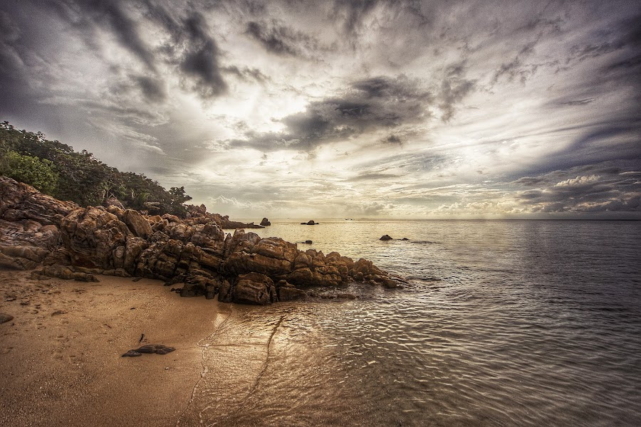 by Gregor Znidarsic - Landscapes Waterscapes ( clouds, sand, sunset, dramatic, thailand, summer, colorfull, beach, rocks, island )