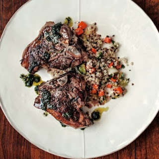 Lamb Chops With Cilantro Chimichurri And Quinoa Salad