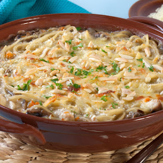 Light Chicken Tetrazzini Noodle Casserole