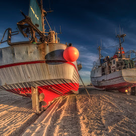 Fishing vessels at Thorup Strand by Ole Steffensen - Transportation Boats ( ladder, fishing vessels, ship, boats, beach, denmark, thorup strand )