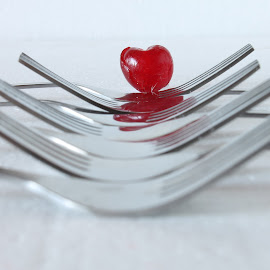 cherry heart by Rina Meintjes - Food & Drink Fruits & Vegetables ( cherry, fruit, red, still life,  )