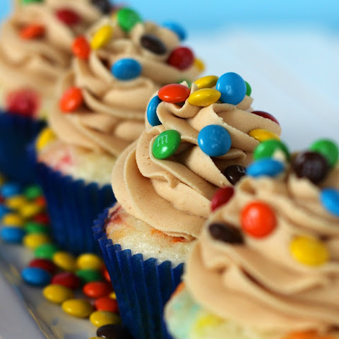 M&M Cupcakes with Peanut Butter Frosting