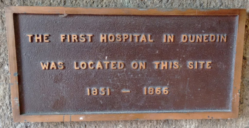 Transcript:The first hospital in Dunedin was located on this site. 1851 - 1866Note:This plaque is no the corner of the Town Hall.Submitted:Judith Swan
