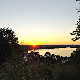 Sunset over the lake by Shariese Flieger - Digital Art Places ( creve coeur, missouri, sunset, lake, st. louis )