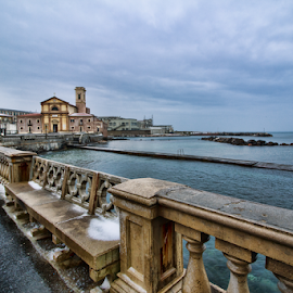 Livorno, Tuscany, Italy by Gianluca Presto - City,  Street & Park  Street Scenes ( clouds, tuscany, church, street, sea, architectural detail, architecture, sky, winter, cold, ice, snow, cloudy, livorno, italy )