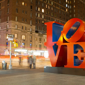 NYC Love by Habashy Photography - City,  Street & Park  Street Scenes ( valentine's day, love, lights, night, postcard )