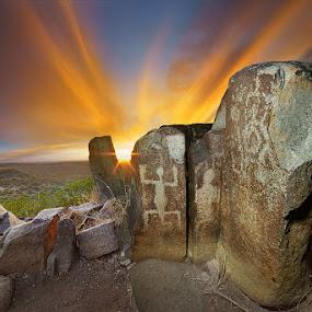 Origin by Craig Bill - Nature Up Close Rock & Stone ( nighttime, sunset, stars, new mexico, petrogylphs )