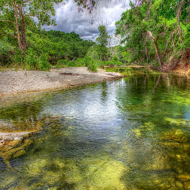 Take Me Down To The River by Kent Moody - Landscapes Waterscapes ( water, stream, green, texas, creek, moss, river )
